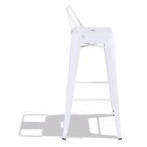 Ghế bar Tolix lưng thấp màu trắng 2