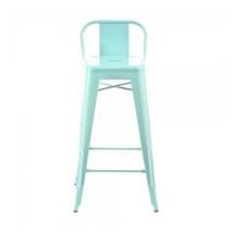 Ghế bar Tolix lưng thấp màu xanh ngọc 2