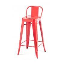Ghế bar Tolix lưng thấp màu đỏ 2