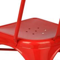 Ghế tựa Tolix lưng cao màu đỏ 2