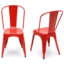 Ghế tựa Tolix lưng cao màu đỏ đôi