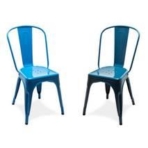 Ghế tựa Tolix lưng cao màu xanh 5