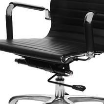 Ghế da IB07GA lưng thấp chân hợp kim nhôm 3