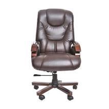 Hình tổng quát ghế da giám đốc IB316 chân gỗ cao cấp màu nâu