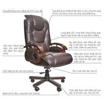 Hình chi tiết ghế da giám đốc IB316 chân gỗ cao cấp màu nâu