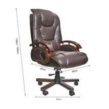 Hình kích thước ghế da giám đốc IB316 chân gỗ cao cấp màu nâu