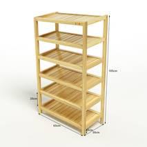 Kệ dép 6 tầng IB663 gỗ cao su màu tự nhiên