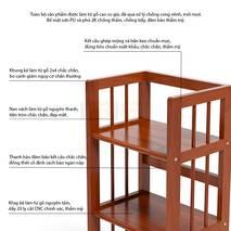 Kệ sách 3 tầng HB340 gỗ cao su màu cánh gián