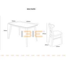 Kích thước Bộ bàn ăn 4 ghế Cacao màu tự nhiên