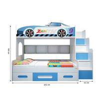 Giường tầng cao hình Ô tô màu xanh 1m2