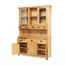 Tủ chén cao 3 cánh Rustic gỗ sồi