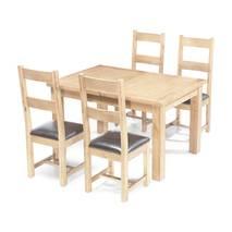 Bộ bàn ăn mở rộng 4 ghế Rustic gỗ sồi