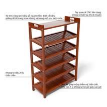Kệ dép 6 tầng ván IV673 gỗ cao su màu cánh gián