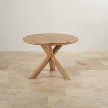 Bộ bàn tròn chân ghép Rivermead ghế da gỗ sồi