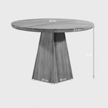Bộ bàn tròn chân trụ Rivermead ghế da gỗ sồi