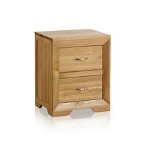 Tủ đầu giường 2 ngăn kéo Bevel gỗ sồi