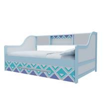 Giường tầng lùn trẻ em in hoa văn xanh 1 đóng