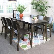 Bộ bàn ăn mặt gỗ Venus màu đen 6 ghế
