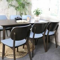 Bộ bàn ăn Venus bọc Simily màu đen 6 ghế