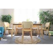 Bộ bàn ăn Venus bọc Simily màu tự nhiên 6 ghế