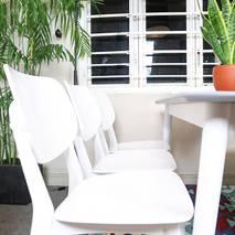 Bộ bàn ăn mặt gỗ Venus màu trắng 6 ghế