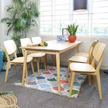 Bộ bàn ăn mặt gỗ Venus màu tự nhiên 6 ghế