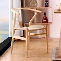 Bộ bàn ăn Wishbone đan dây màu tự nhiên