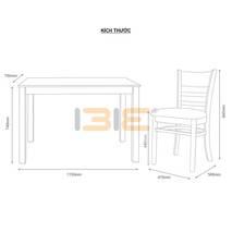 Kích thước Bộ bàn ăn 4 ghế Ulsan màu tự nhiên