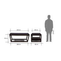Kích thước bàn trà sofa Akita màu nâu gụ