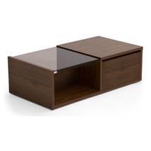 Bàn trà sofa Osaka nửa mặt kính phủ venneer walnut nghiêng 60