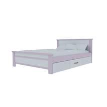 Giường đơn có ngăn kéo màu trắng hồng