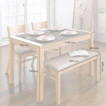 Bộ bàn ăn ghế băng 4 chỗ Ulsan màu tự nhiên 9