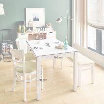 Bộ bàn ăn ghế băng 4 chỗ Ulsan màu trắng 3