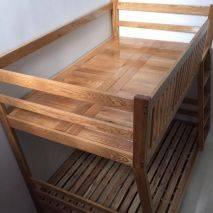 Giường tầng Rustic thang liền gỗ sồi 3