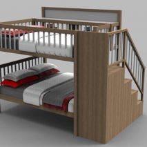 Giường tầng Rustic thang bên gỗ sồi 2