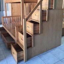 Giường tầng Rustic thang bên gỗ sồi 3