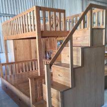 Giường tầng Rustic thang bên gỗ sồi 4