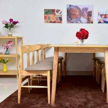 Bộ bàn ăn 6 ghế Suwon màu tự nhiên