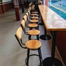 Ghế bar Odda mặt gỗ chân thép sơn tĩnh điện