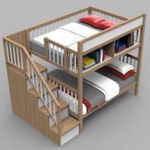 Giường tầng Rustic thang bên gỗ sồi 1
