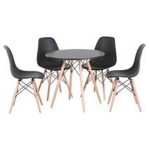Bộ bàn tròn Eiffel đen 4 ghế