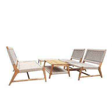 Bộ sofa ngoài trời Aveas gỗ keo đan dây 2