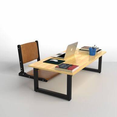 Bộ bàn bệt Rec-B chân đen gấp gọn