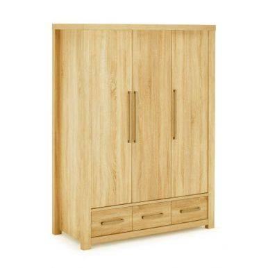 Tủ áo Cuba gỗ sồi 3 cánh nghiêng