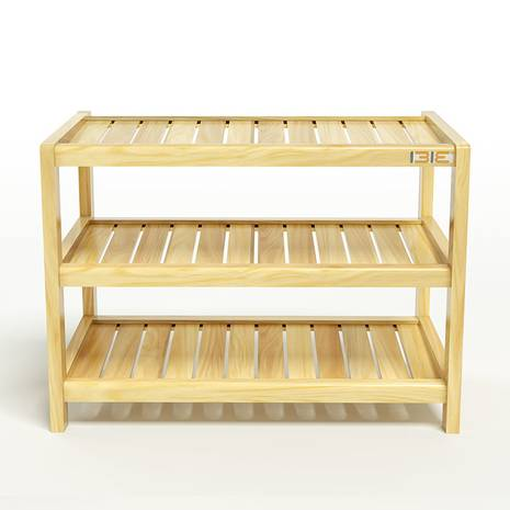 Kệ dép 3 tầng IB363 gỗ cao su màu tự nhiên