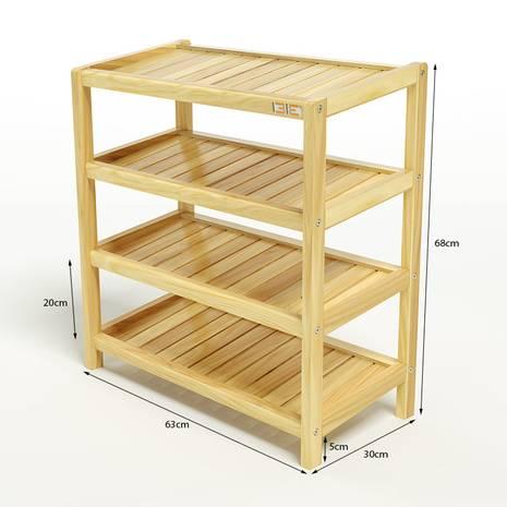 Kệ dép 4 tầng IB463 gỗ cao su màu tự nhiên
