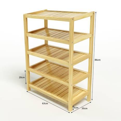 Kệ dép 5 tầng IB563 gỗ cao su màu tự nhiên