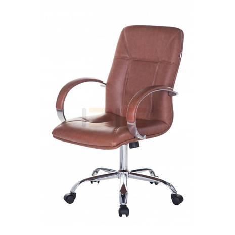Hình nghiêng ghế Trưởng phòng IB206 khung đúc tay nhôm ốp chân thép mạ cao cấp màu nâu