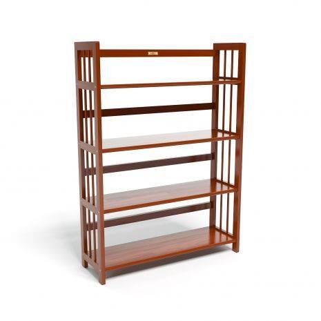 Kệ sách 4 tầng HB490 gỗ cao su màu cánh gián (90cm)