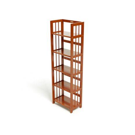 Kệ sách 5 tầng HB540 gỗ cao su màu cánh gián (40cm)
